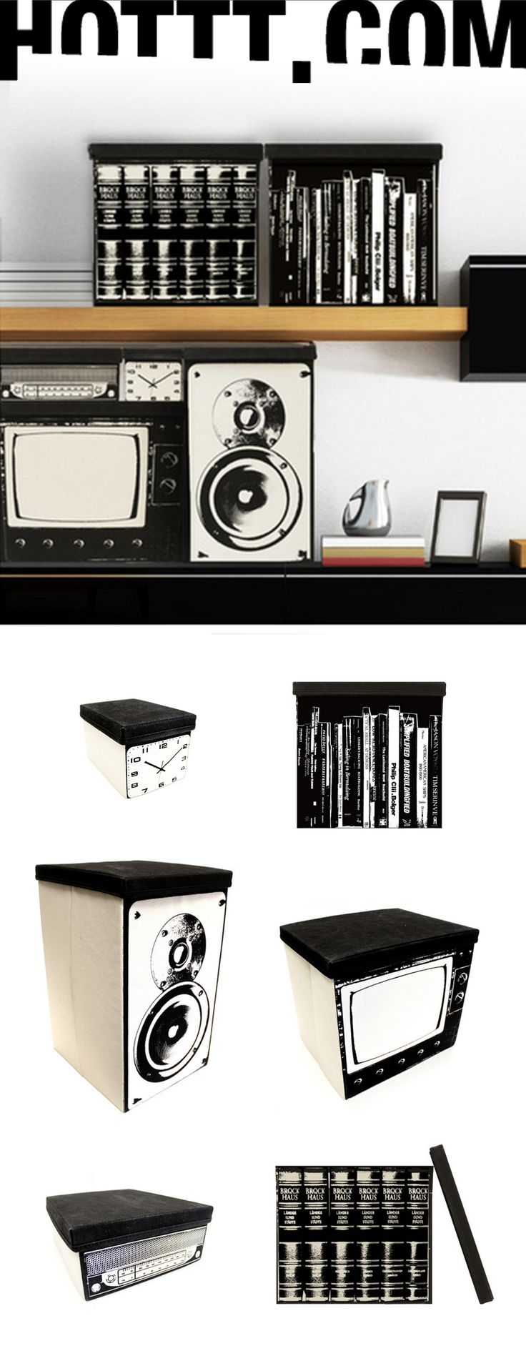 Media Canvas Boxes @ HOTTT.COM! Clock, Books, TV, Stereo, and Speakers