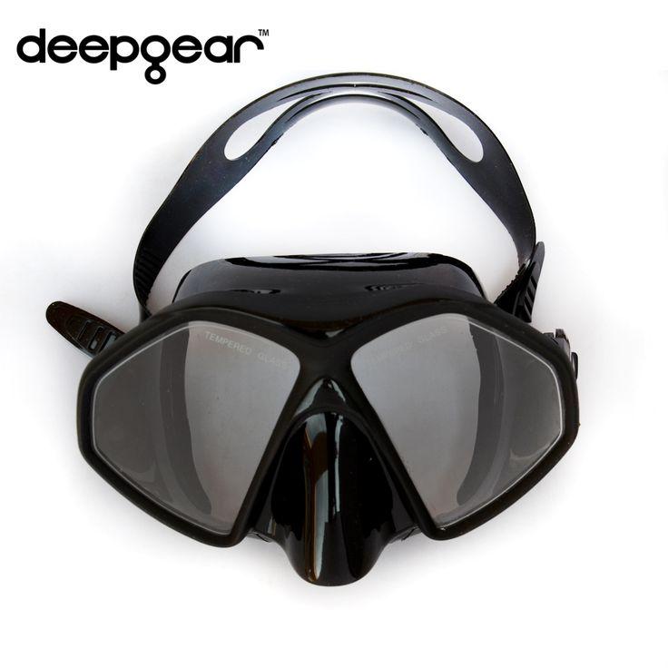 DEEPGEAR Frameless scuba diving mask Black silicone Tempered glass dive mask Twin lens adult scuba dive mask snorkel equipment