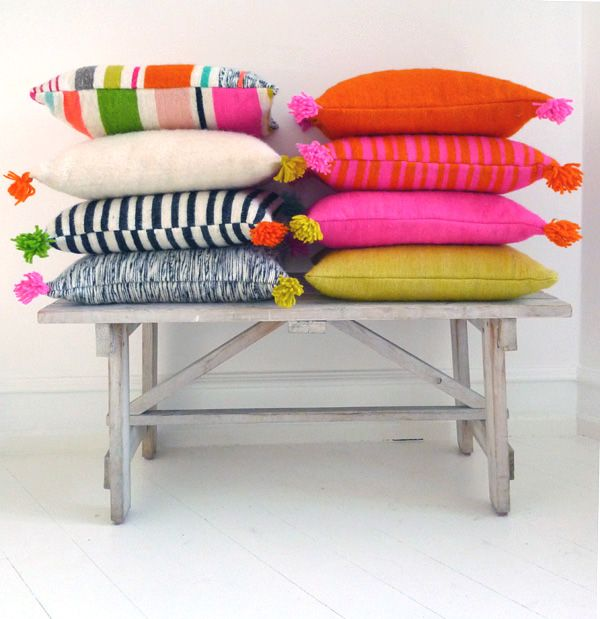 kira-cph.com handwoven cushions in bright colors and black & white