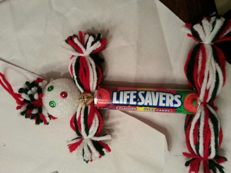 Lifesaver ornament.  Yarn and Styrofoam ball.