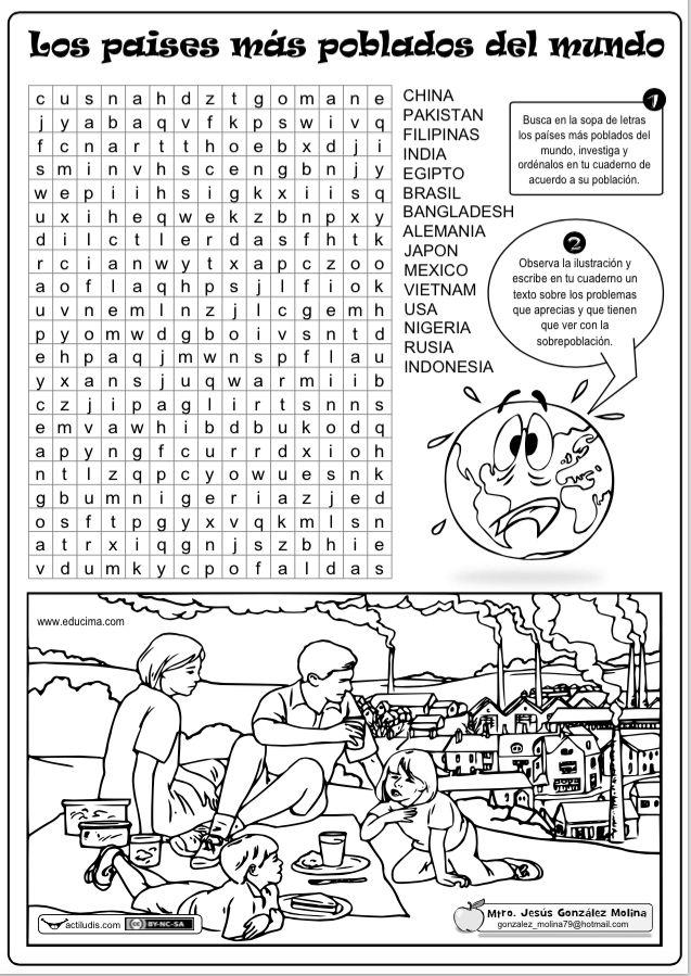 Sopa de letras y ejercicio sobre los países más poblados del mundo