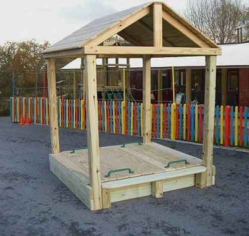 The standard Roof Sandbox (Commercial) is a spacious wooden sandpit with a sturdy wooden weatherproof roof allowing use in all weathers.