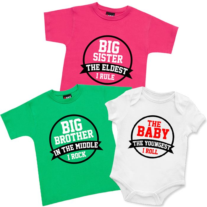 Brothers, Sisters & Baby T Shirts & Onesie 3 Piece Set