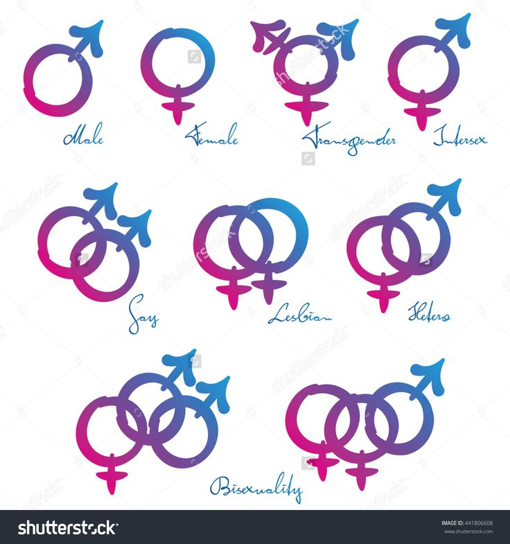 LGBT symbols - Gender identity and sexual orientation - male, female, transgender, intersex, gay, lesbian, hetero, and bisexuality. Pink blue gradient vector on white background.