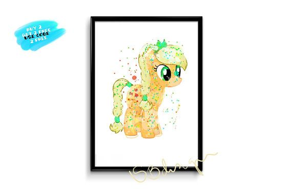 My Little Pony Applejack princess poster watercolor little