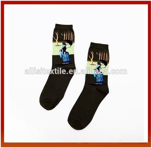 Unsex Oil Painting Cotton Dress Socks,Custom Logo Patterned Socks