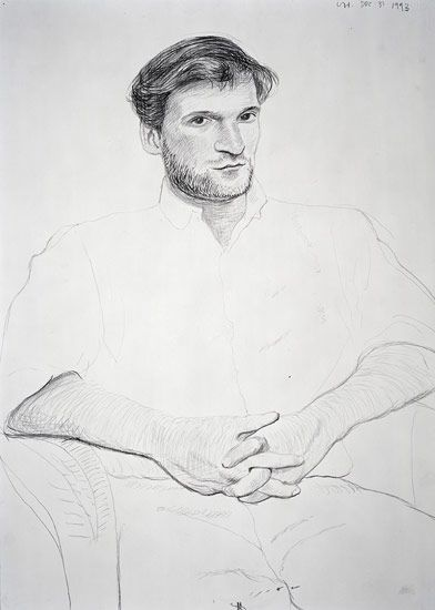David Hockney John Fitzherbert, 1993 Crayon 757 x 568 mm (30 x 22 1/2)