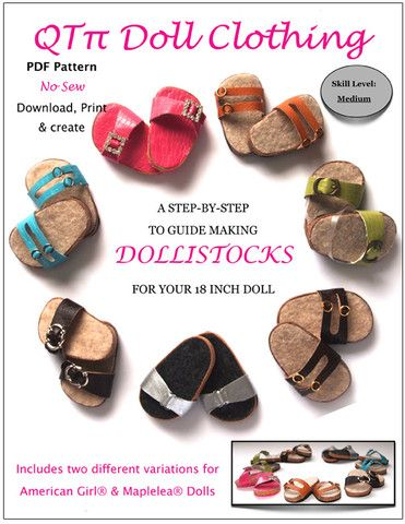 Dollistocks 18 Inch Doll Shoe Pattern for American Girl Dolls find it at www.pixiefaire.com
