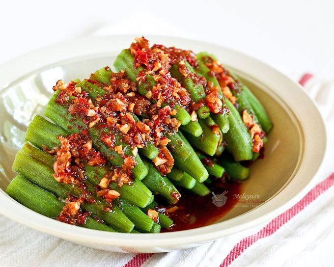 This piquant Sambal Steamed Okra with a spicy sambal belacan and soy sauce dressing is full of umami flavor. Takes only 20 minutes to prepare.
