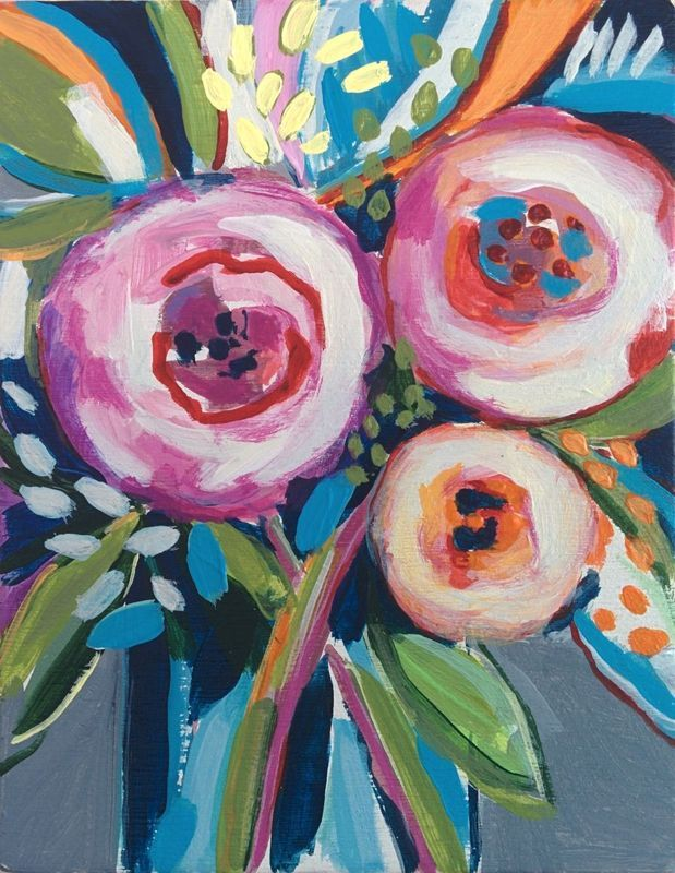 """""""Flowers of May #8"""" by Marisa Añón Frau. Mixed Media painting on Panel / Board / MDF, Subject: Flowers and plants, Impressionistic style, One of a kind artwork, Signed on the back, This artwork is sold unframed, Size: 12 x 15 x 1.5 cm (unframed), 4.72 x 5.91 x 0.59 in (unframed), Materials: acrylic, board, wax pastel"""
