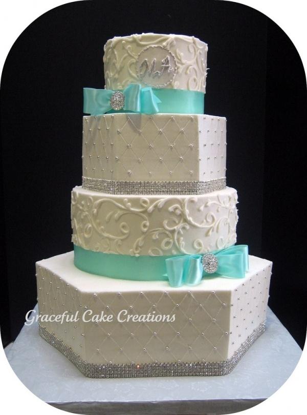 Elegant Tiffany Blue and White Wedding Cake