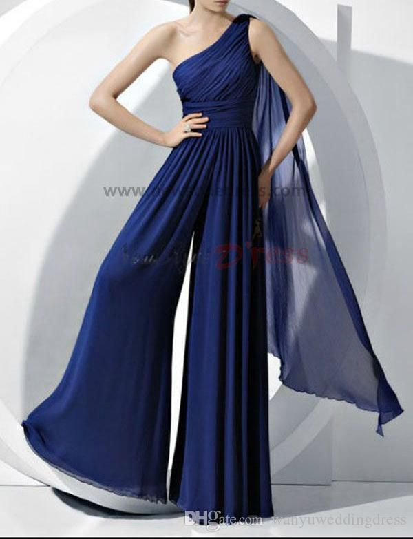 One Shoulder Blue Chiffon Bridesmaids Dresses Rompers Jumpsuit Maid of Honor Jumpsuit Rompers For Junior Girls Pants Plus Size
