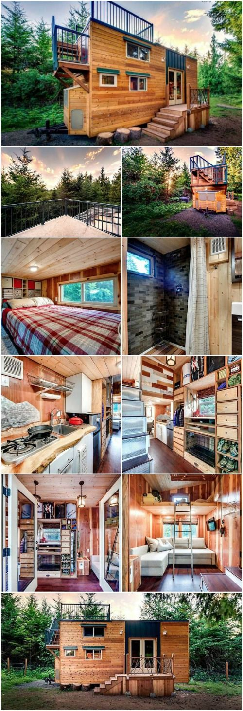 "Mountain Climbing Couple Builds ""Basecamp"" Tiny Home Complete With Alpine Accents {15 Photos} - One of the joys of building your own tiny house is the chance to fully express your personality throughout your abode. I just love when I see people go all-out with this, paying homage to their interests and hobbies through décor and design. One great example I've just discovered is the ""Basecamp"" tiny house built by husband and wife mountain climbing team Tina and Luke."