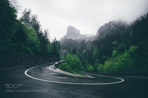 Twist by Ciprian91  trees sky forest mountains clouds road green roads mountain romania serpentine lacul rosu bicaz bica