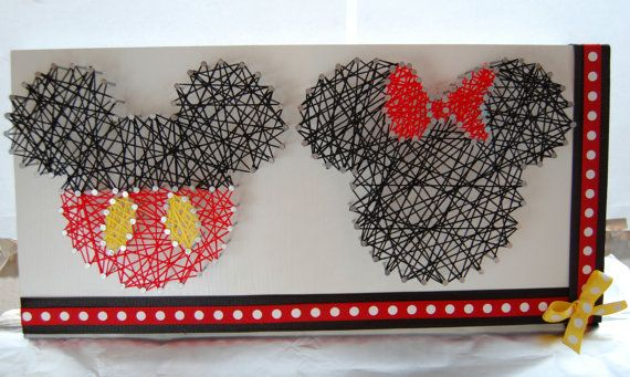 Mickey and Minnie String Art Disney String by OrgaknitsbyBrielle
