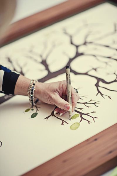 Leave a thumbprint and sign your name. Love this.: Signs, Thumb Prints, Paintings Trees, Cute Ideas, Ink Pads, Fingerprints, Families Trees, Wedding Guest Books, Style Me Pretty