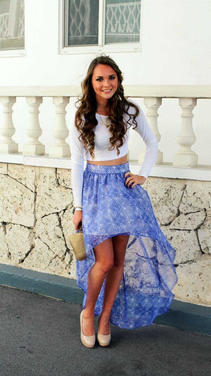 cute crop top and hi low skirt combo