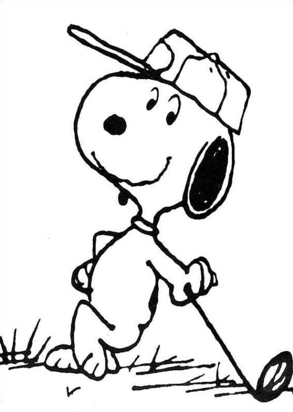 Coloring page Charlie Brown: golf