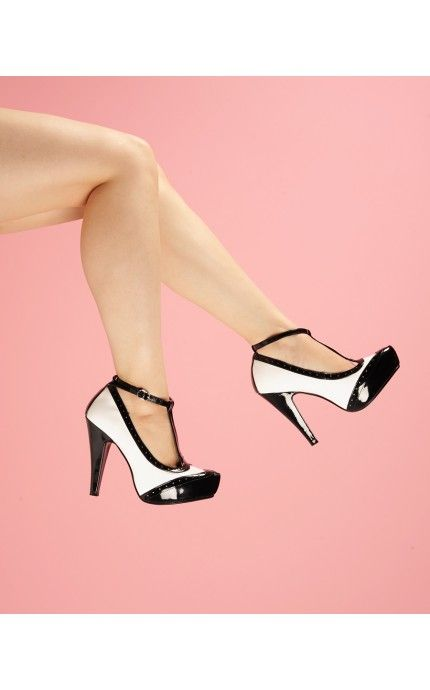 T-Strap Spectator Pump in Black and White - Shoes | Pinup Girl Clothing