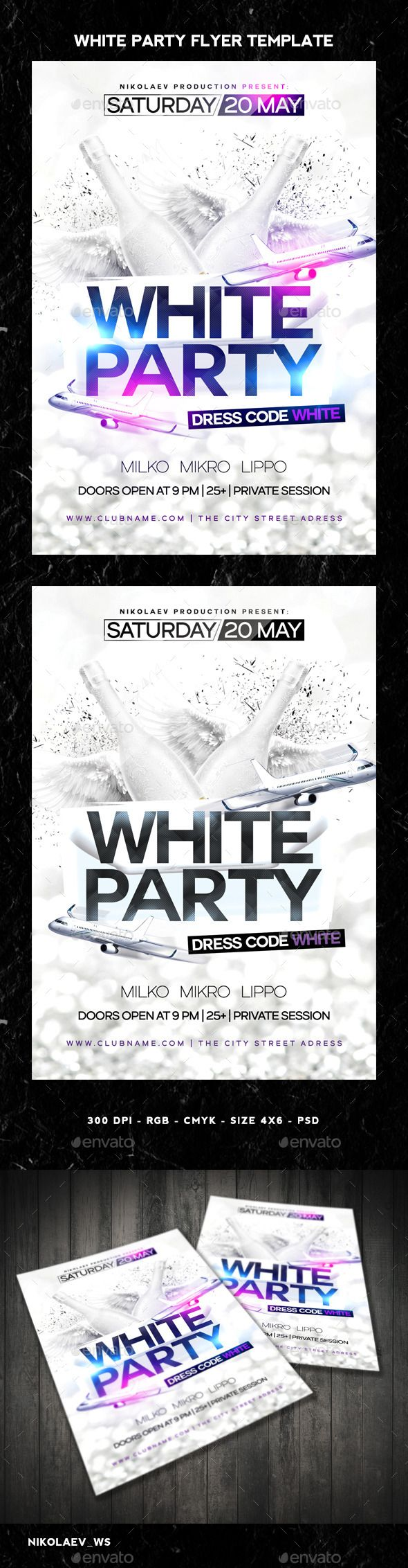 White Party Flyer (CS3, 4x6, all in white, bottles, carpet, christmas event, classy, deluxe, dress, dress code, elegant, fancy, fashion, glamour, modern, party flyer, poster template, PSD flyers, session, sexy, trendy, vintage, vip, weekend, white)