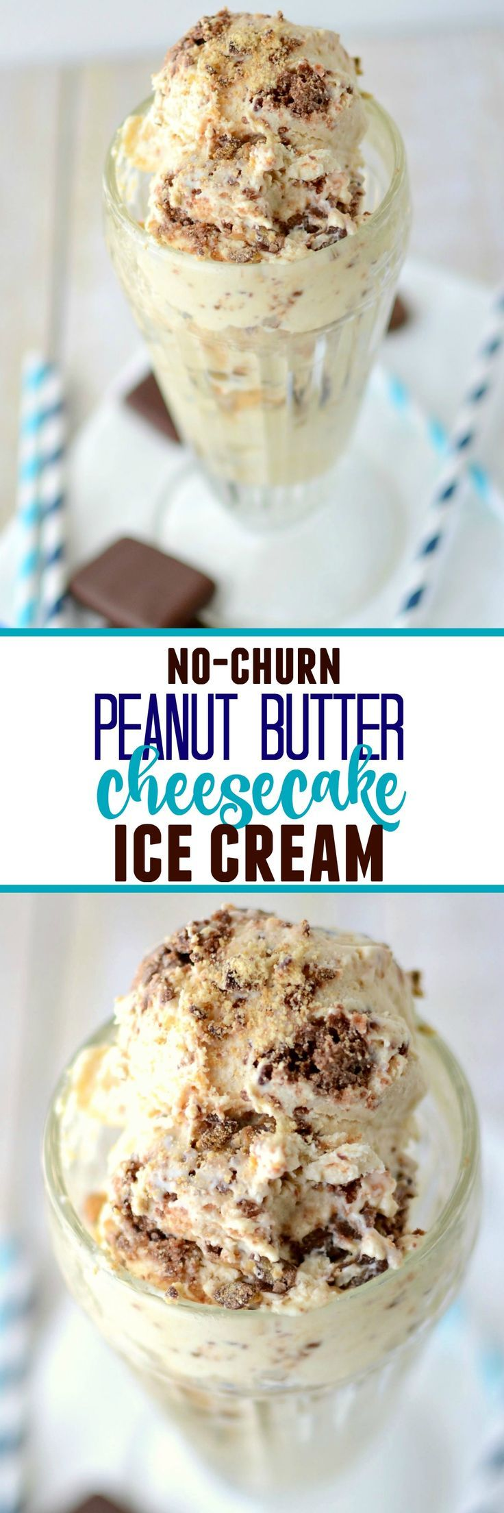 Easy No-Churn Peanut Butter Cheesecake Ice Cream - this is the easiest ice cream recipe you'll ever make! No machine needed!