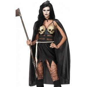 Death Dealer Warrior Costume for Women Our Price $60.00  The 3 piece Death Dealer costume includes the ragged hem dress with sheer center panels and latex skull bra. It comes with the rope belt and hooded cape with skull charm.  Other items shown sold separately.  #cosplay #costumes #halloween
