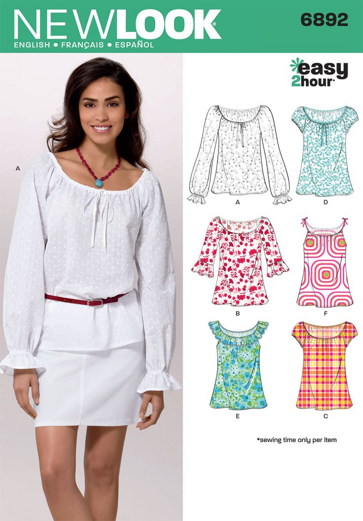 Womens Easy 2 Hour* Tops Sewing Pattern 6892 New Look: