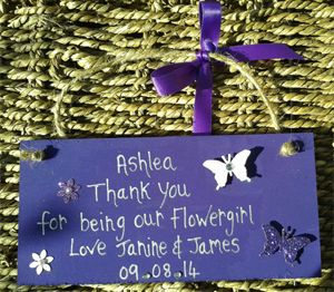Personalised 'Purple' Flowergirl Thank You Gift Plaque