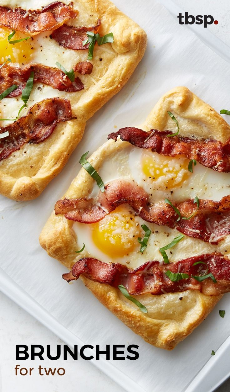 Because no one wants leftover eggs. Ditch the plain old bacon and eggs for some inspired brunches that are the perfect serving size for two.