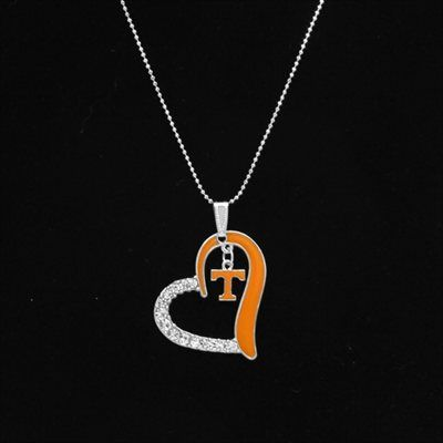 Tennessee Volunteers Women's Heart Necklace - Tennessee Orange