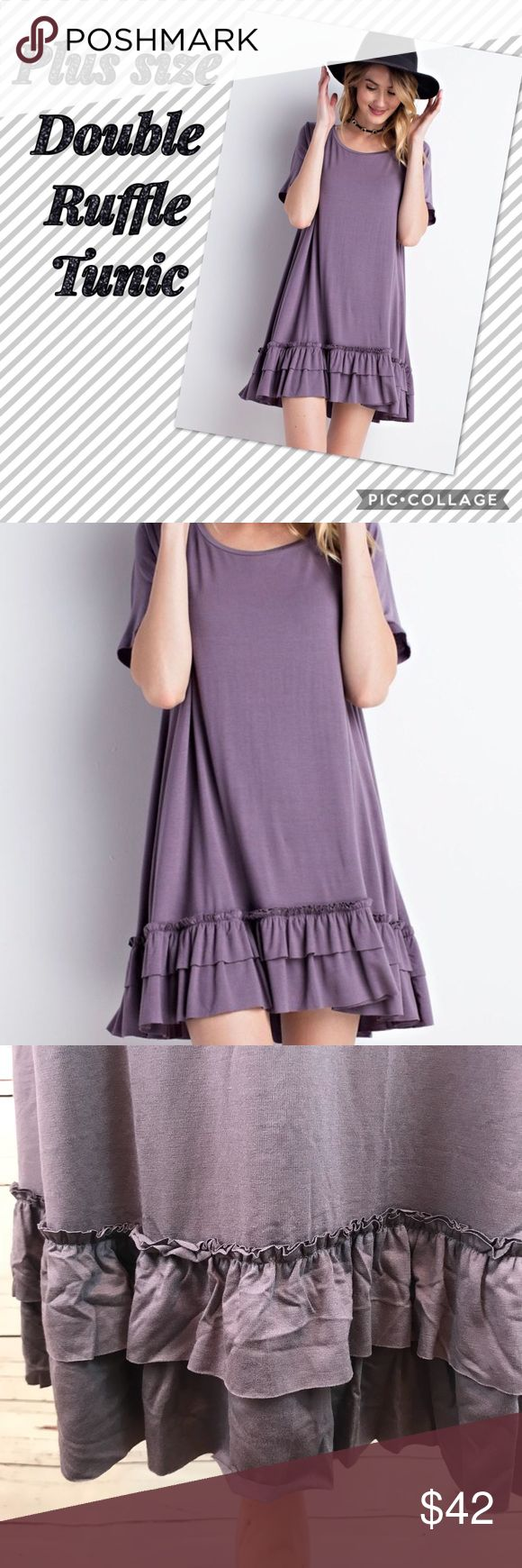 Plus Size Purple Taupe Double Ruffle Tunic Gorgeous Purple Taupe Double Ruffle Tunic Top.  Super soft!  Super comfy!   Super sexy!!!   Great for a night out, a casual weekend day, or the office.  It's the multi purpose Tunic you need in your closet! Tops Tunics