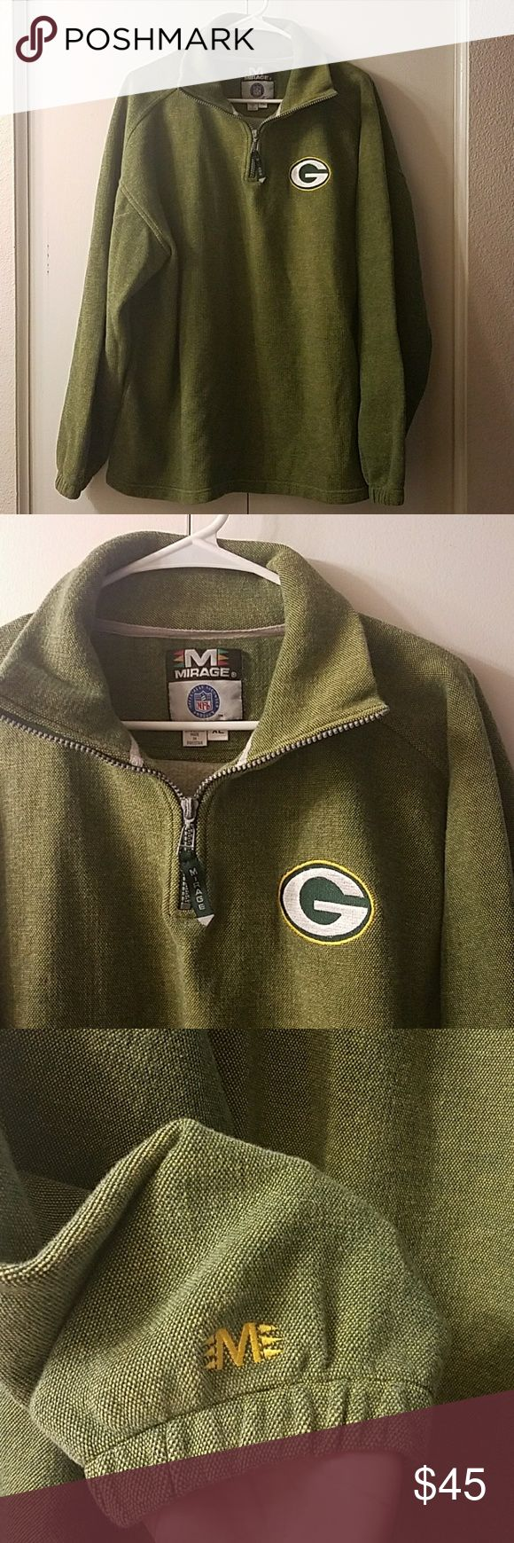 Men's Green Packers Sweater Men's Green Packers Sweater  Size XL 80% COTTON 20% POLYESTER  Used in great condition,no stains or tears Mirage Sweaters