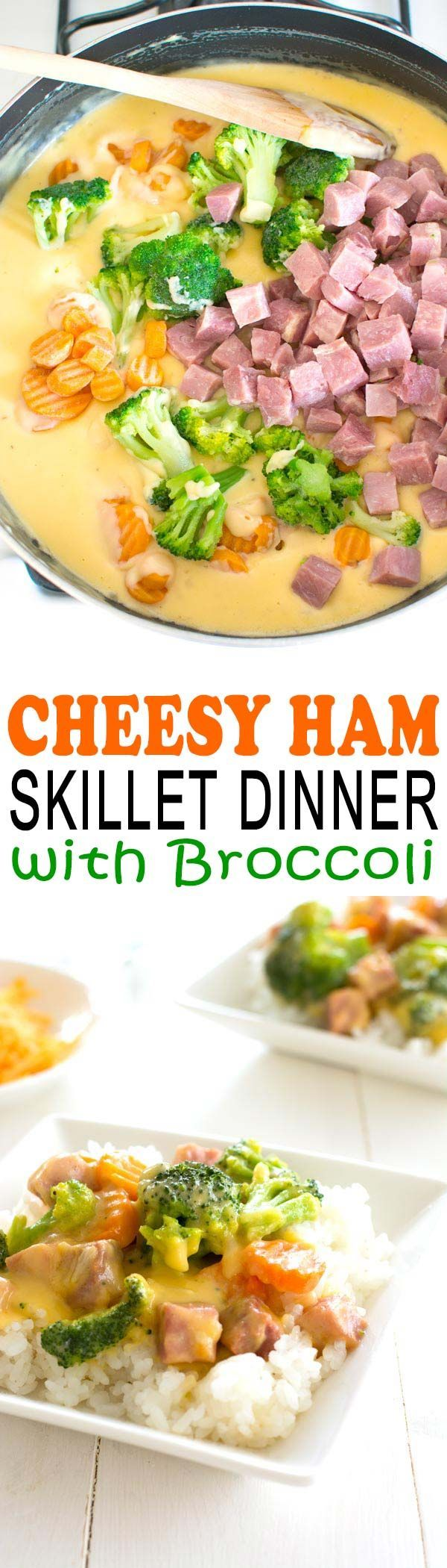 Lightened-up one pan cheesy ham dinner with broccoli. Use up that leftover ham!
