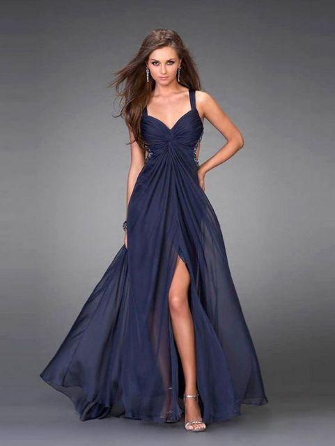 Vestido azul marinho para formatura