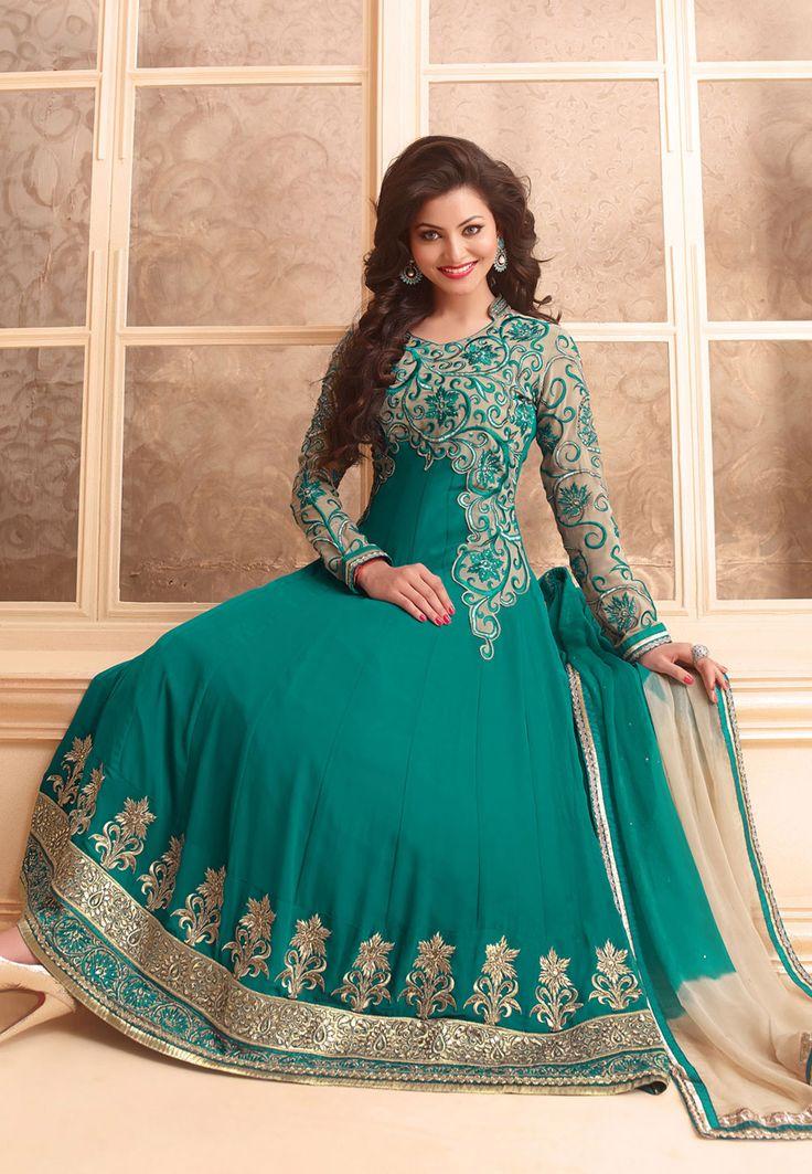 Teal Blue Faux Georgette Abaya Style Churidar Kameez Online Shopping: KKQ10