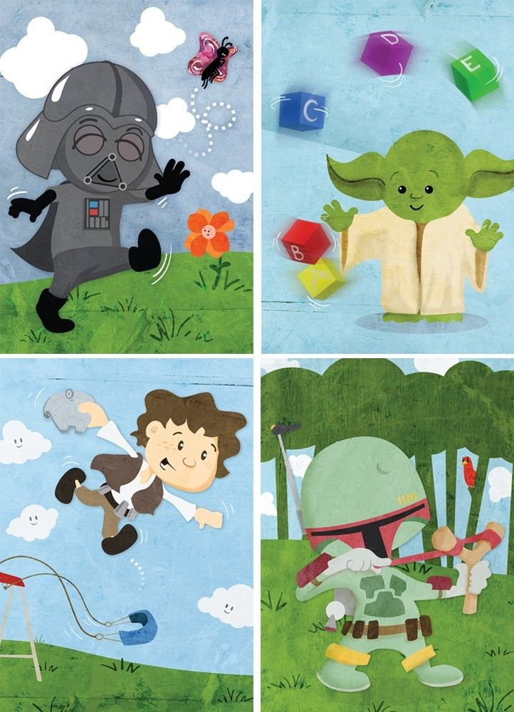 Baby Star Wars wall art - Set of six 5x7 prints. $39.00, via Etsy.