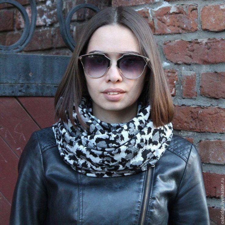 Купить Шарф снуд из трикотажа серо-черного цвета с леопардовым принтом - шарф, шарф женский