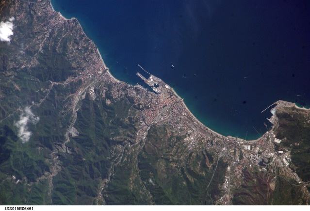 """Savona Harbor seen from space... a really amazing pic, isn't it? ;D - Liguria         Source: Image Science and Analysis Laboratory, NASA-Johnson Space Center. """"The Gateway to Astronaut Photography of Earth."""""""