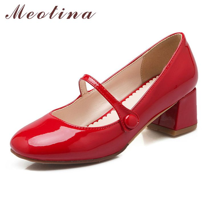 Meotina Designer Shoes Women Mary Jane Square Toe Mid Heels Lady Shoes Chunky Heels Party Pumps White Red Women Shoes Size 34-43