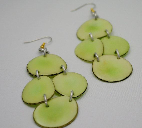Light green Tagua Chandelier Earrings