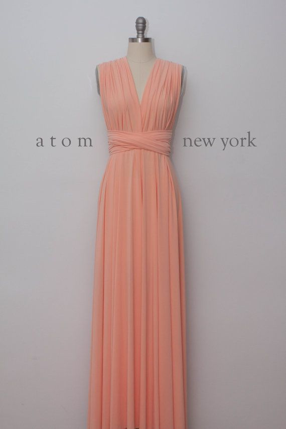 Peach Floor Length Ball Gown Long Maxi Infinity Dress Convertible Formal Multiway Wrap Dress Bridesmaid Dress Evening Dress