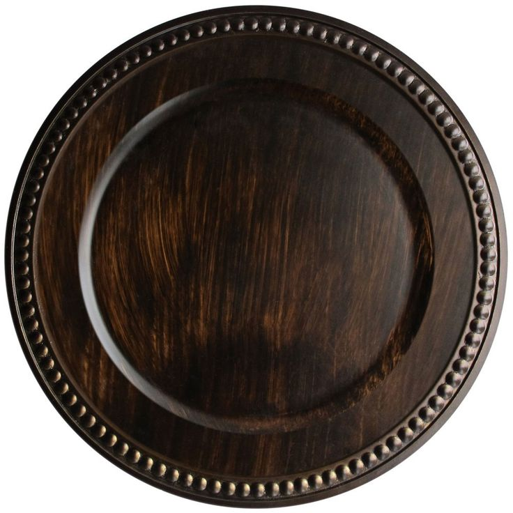 """Wholesale Event Solutions - Case of 12 Round 14"""" Brown Faux Wood Charger Plates @ $13.95/pc, $167.40 (https://www.eventswholesale.com/case-of-12-round-14-brown-faux-wood-charger-plates-13-95-pc/)"""