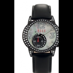 """This ELLE watch for women is called """"Happy Hour"""" for good reason. This is a fun watch that has interest and drama. You can wear this watch to any occasion and with any attire. The beautiful Sunray Silver dial and silver bezel is embellished with sparkling Swarovski Crystals to give you that glamorous element you sometimes need. It is just a great social watch that will command attention and gain you wonderful compliments. This is a larger watch that is 1.64 inches wide."""