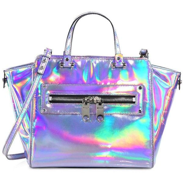 MILLY Holographic Demi Tote ($525) ❤ liked on Polyvore featuring bags, handbags, tote bags, purses, accessories, bolsas, purse tote, leather man bags, genuine leather tote and leather tote handbags