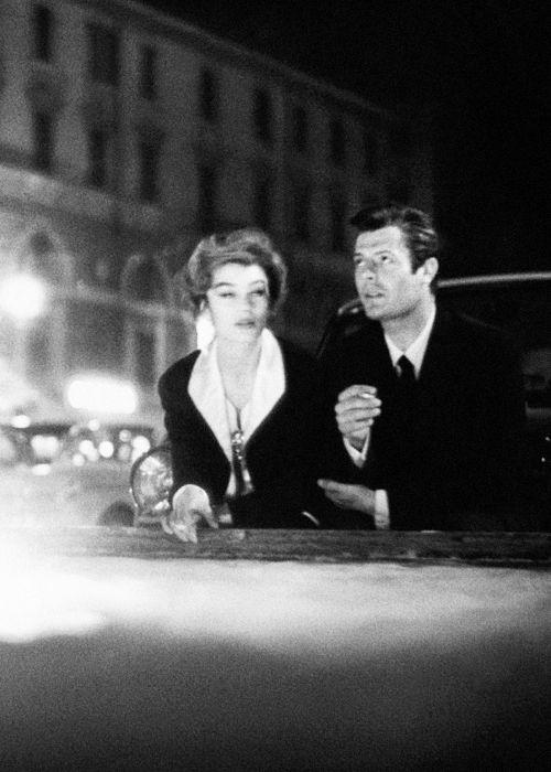 Anouk Aimée & Marcello Mastroianni in La Dolce Vita, directed by Federico Fellini, 1960.