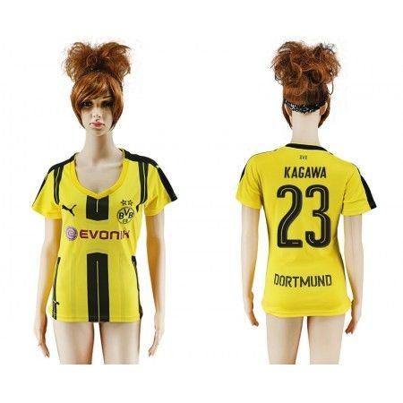 BVB Fotbollskläder Kvinnor 16-17 Shinji #Kagawa 23 Hemmatröja Kortärmad,259,28KR,shirtshopservice@gmail.com
