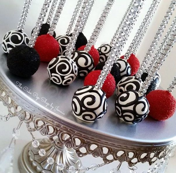 I'm loving the bright bold colors and design on these cake pops from The Cake Pop Shop