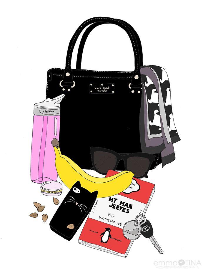 EmmaKisstina Illustrations by Kristina Hultkrantz: Blogger What's in my Bag: Carlene of Healthfully Ever After