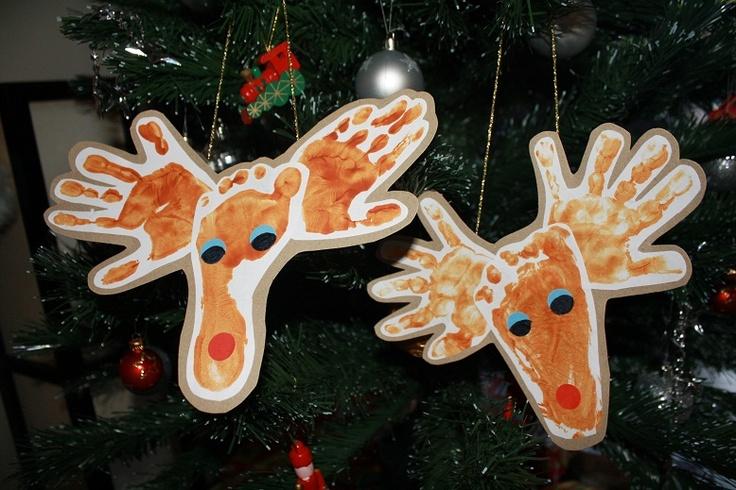 Hand and footprint Reindeer for Christmas