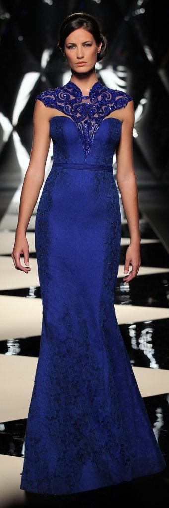 Found on glamorousluxurypassion.wordpress.com  -Mireille Dagher Fall-Winter 2013-14 Haute Couture Collection - Beautiful damask navy evening gown